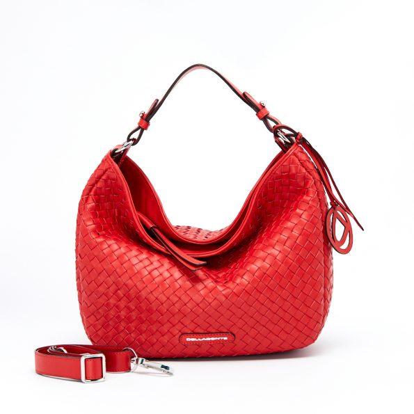 geanta dama impletita manual de culoare rosie
