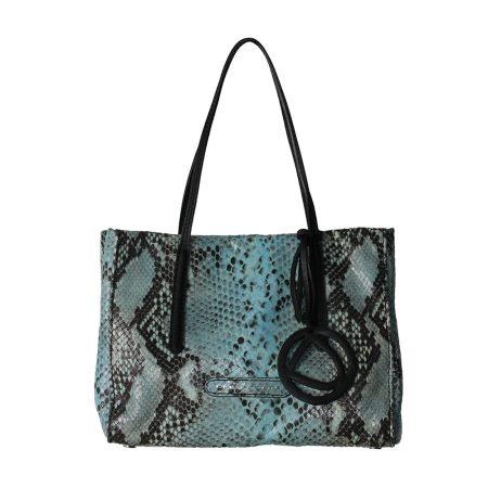 geanta de dama din piele naturala pitone negru cu albastru