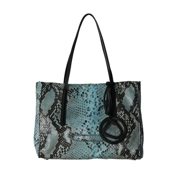 geanta de dama din piele naturala pitone negru cu albastru 8217-04-20nk