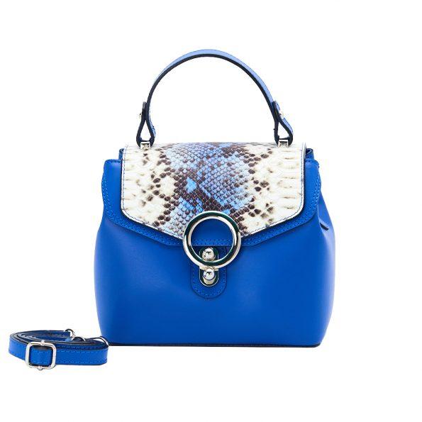 geanta dama din piele cu pitone naturala dellaconte albastra H5811-20NK