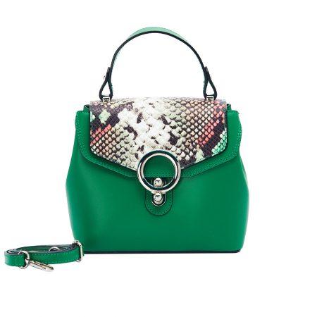 geanta dama din piele cu pitone naturala dellaconte verde