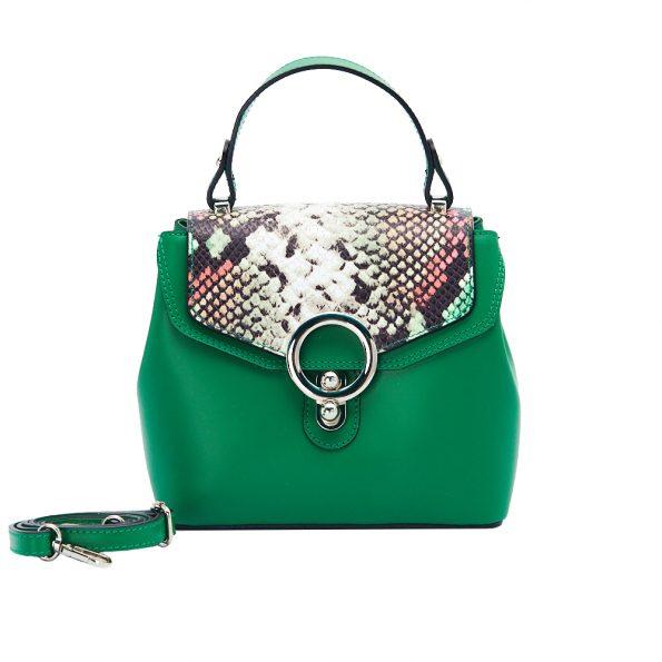 geanta dama din piele cu pitone naturala dellaconte verde H5811-30NK
