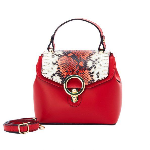 geanta dama din piele cu pitone naturala dellaconte rosie H5811-60ORO