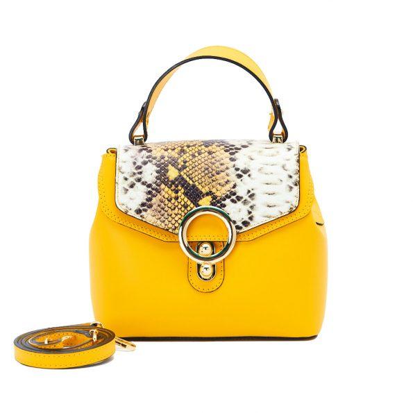 geanta dama din piele cu pitone naturala dellaconte galbena H5811-80ORO