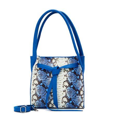 geanta dama din piele naturala dellaconte albastru negru alb