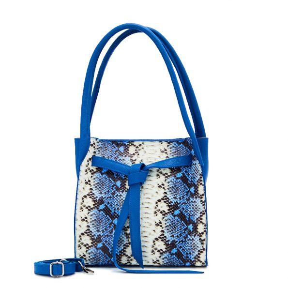 geanta dama din piele naturala dellaconte albastru negru alb H6067-20NK