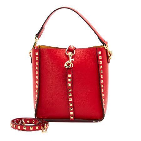geanta de dama din piele naturala dellaconte rosie cu piramide