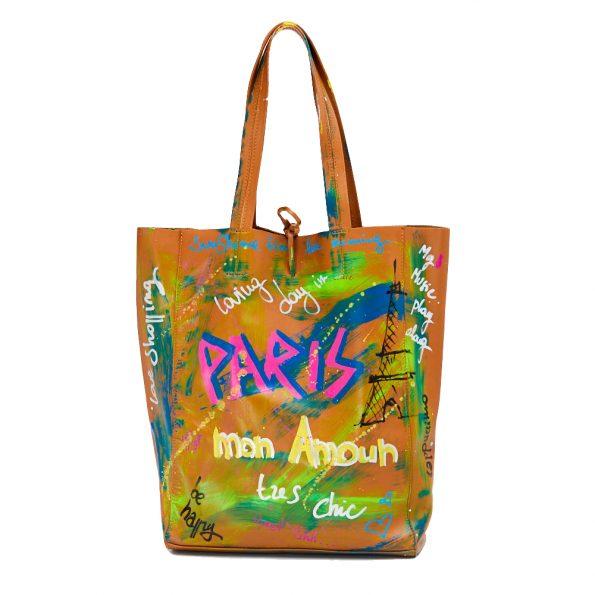 geanta dama din piele naturala pictata manual dellaconte Paris fata maro IT-9030-49NK-(3)