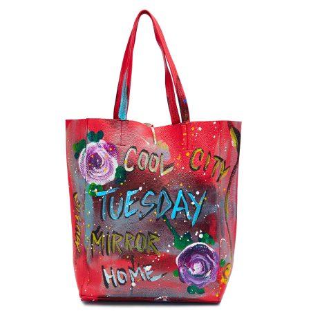 geanta dama din piele naturala pictata manual dellaconte Thusday rosie alba