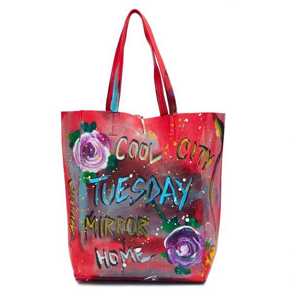 geanta dama din piele naturala pictata manual dellaconte Thusday fata rosie IT-9030-60NK