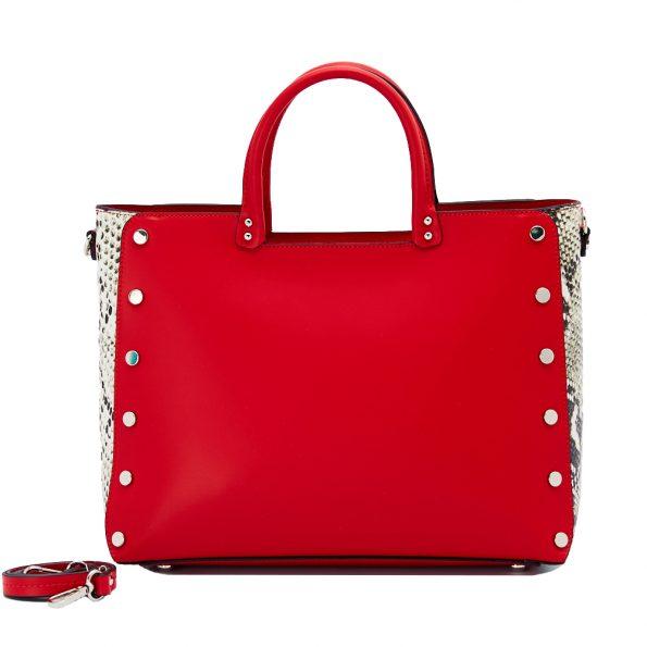 geanta dama din piele pitone naturala dellaconte rosie K5768-60NK