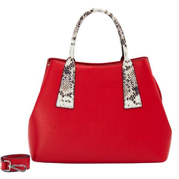 geanta dama din piele pitone naturala dellaconte rosie K5835-60NK