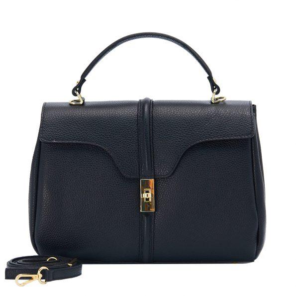 geanta dama din piele naturala dellaconte neagra bauloto K695755-18ORO