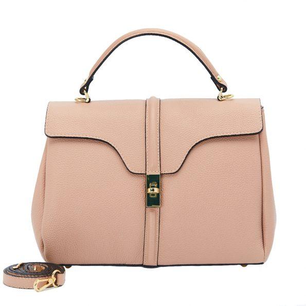 geanta dama din piele naturala dellaconte roz bauloto K695755-52ORO