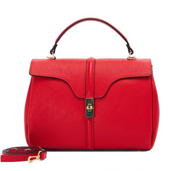 geanta dama din piele naturala dellaconte rosie bauloto K695755-60ORO