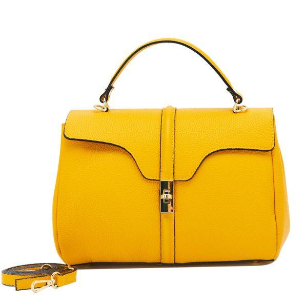 geanta dama din piele naturala dellaconte galben bauloto K695755-80ORO