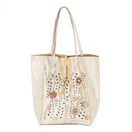 geanta de dama din piele naturala cu flori aurie