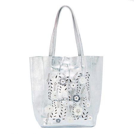 geanta de dama din piele naturala cu flori argintie