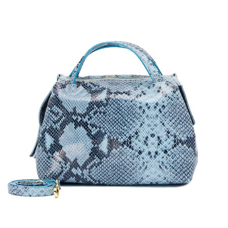 geanta de dama din piele naturala pitone albastru cu negru