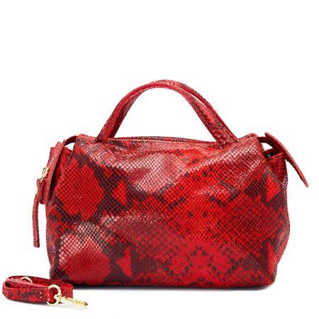 geanta de dama din piele naturala pitone rosu cu negru