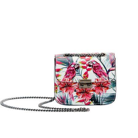 geanta de dama din piele naturala model papagali cu lant