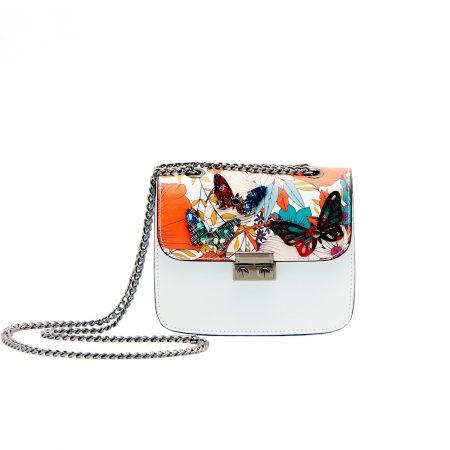 geanta de dama din piele naturala model fluturi cu lant