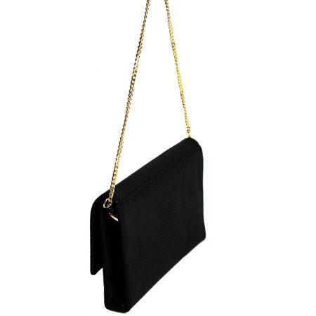 geanta plic din piele naturala cu lant neagra lateral