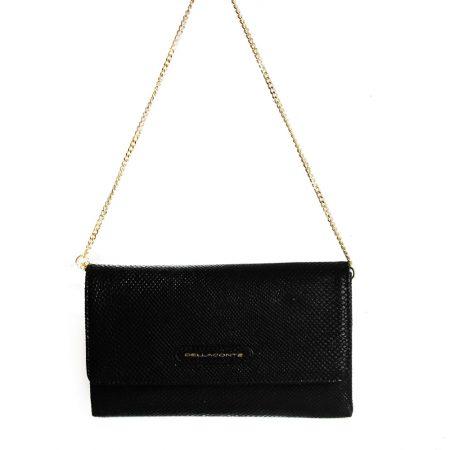 geanta plic din piele naturala cu lant neagra