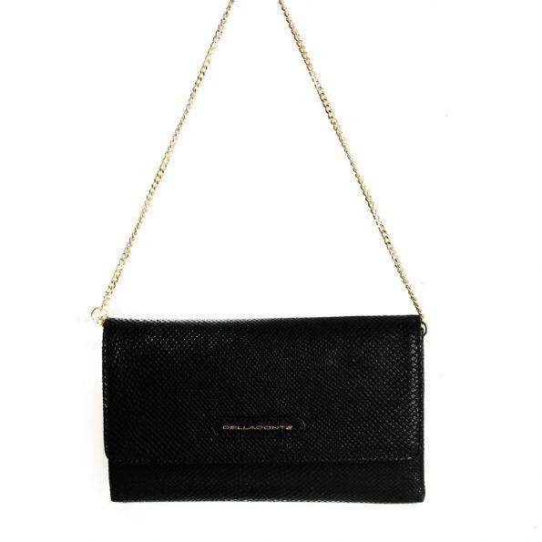 geanta plic din piele naturala cu lant neagra 1437-40-10oro