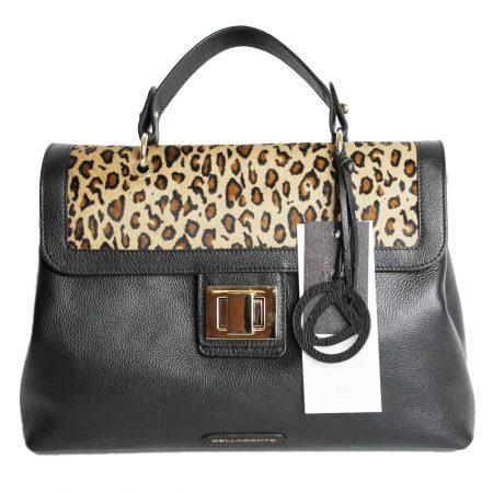 geanta dama din piele naturala dellaconte leopard cu negru fata