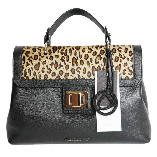 geanta dama din piele naturala dellaconte leopard cu negru fata 4007-52-52oro