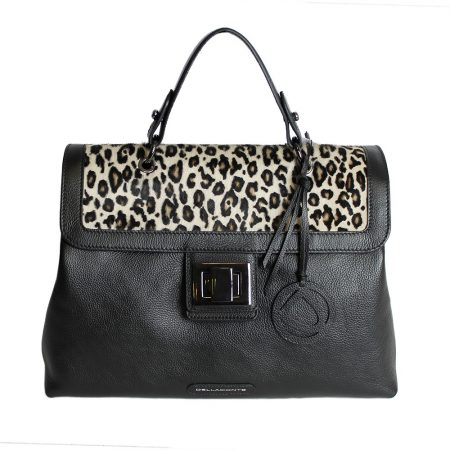 geanta dama din piele naturala dellaconte leopard cu negru