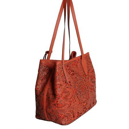 geanta din piele naturala laser portocalie lateral