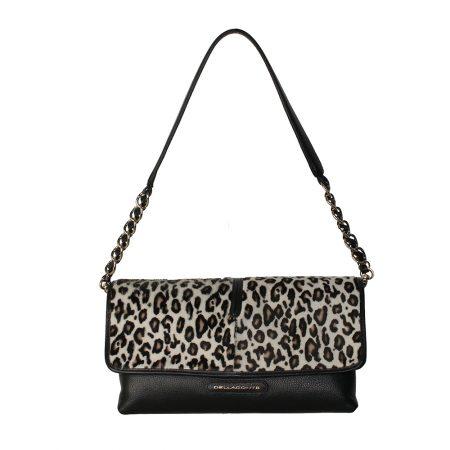 geanta de dama crossbody din piele naturala leopard alb cu negru