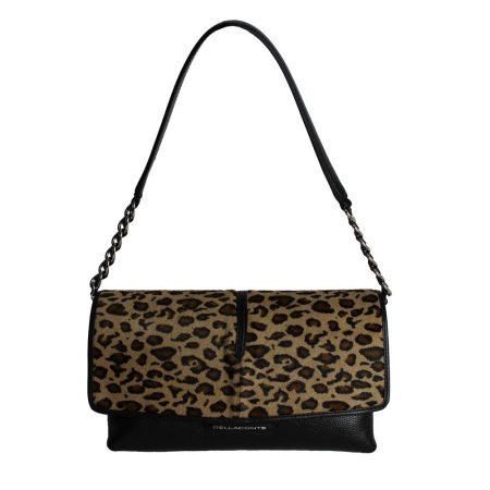 geanta de dama crossbody din piele naturala leopard cu negru