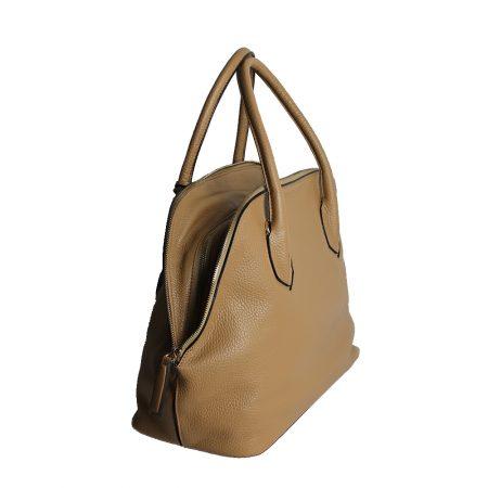 geanta dama din piele naturala dellaconte crem lateral