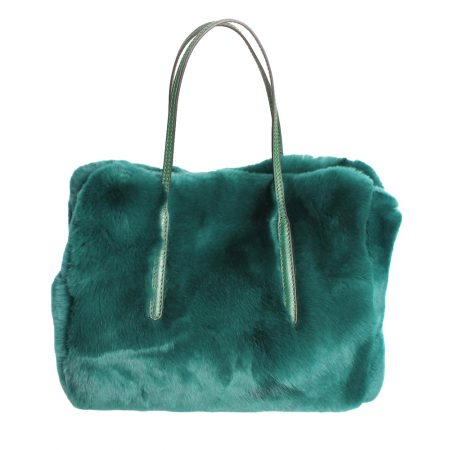 geanta din blana si piele naturala verde