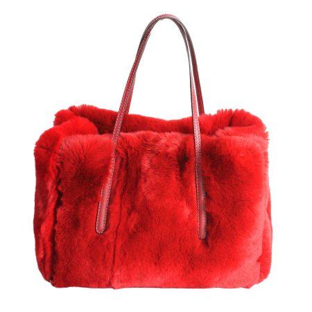 geanta din blana si piele naturala rosie